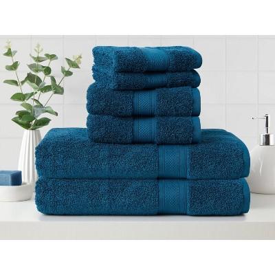 6pk Low Twist Bath Towel Set with Enhanced Microban Blue - Cannon