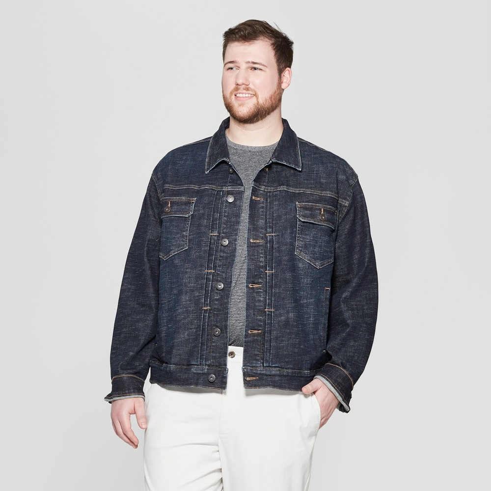 Men's Big & Tall Crosshatch Vintage Denim Jacket - Goodfellow & Co Dark Wash 4XBT, Blue