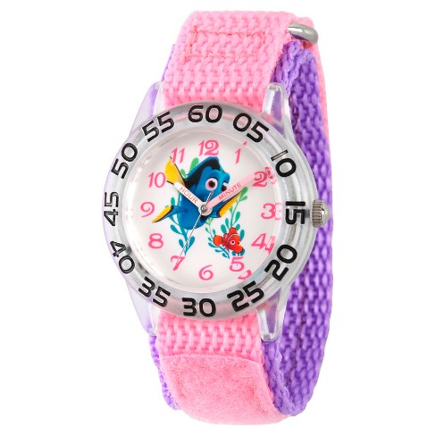 Girls' Disney Finding Dory Nemo and Dory Plastic Time Teacher Watch - Pink - image 1 of 4