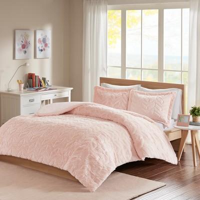 Blush Kylie Chevron Ultra Plush Comforter Mini Set Twin