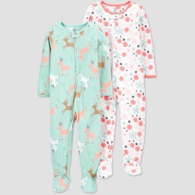 Baby Girls' Reindeer Footed Pajama - Just One You® made by carter's Green 9M