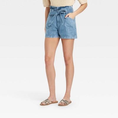 Women's High-Rise Denim Paper Bag Waist Shorts - Universal Thread™ Blue