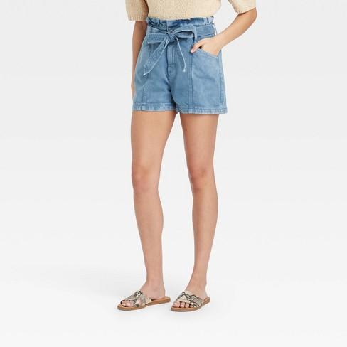 Women's High-Rise Denim Paper Bag Waist Shorts - Universal Thread™ Blue - image 1 of 3