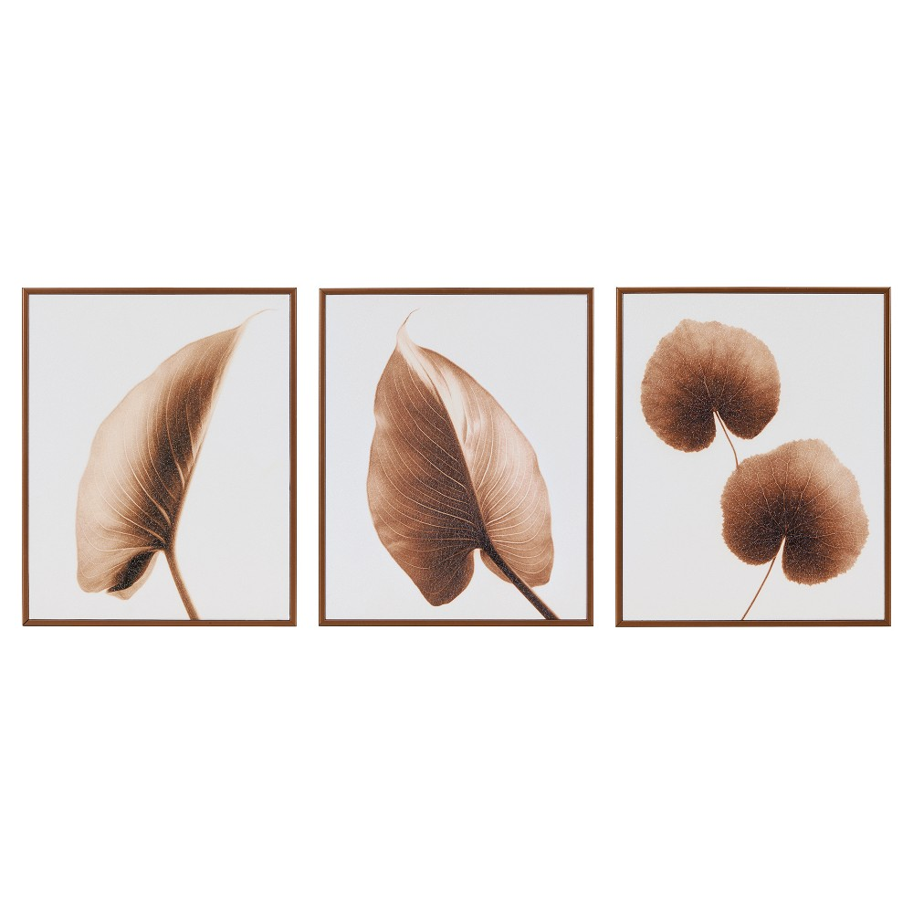 The Alocasia Leaves Taupe Framed Decor Box 3pc Set 18.5 X 7.48 X 15.6 - Trends International, Brown