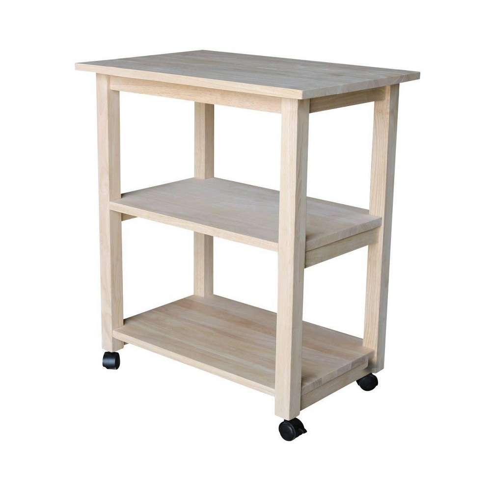 Addison Microwave Cart Wood Beige International Concepts