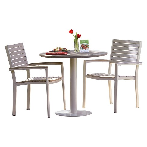 "Oxford Garden Travira Bistro Set 3 Piece with 32"" Table - Powder Coated Aluminum with Vintage Tekwood Top - image 1 of 3"
