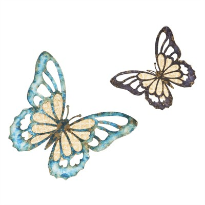 Cape Craftsmen Metal And Wood Butterfly Wall Decor , Set Of 2