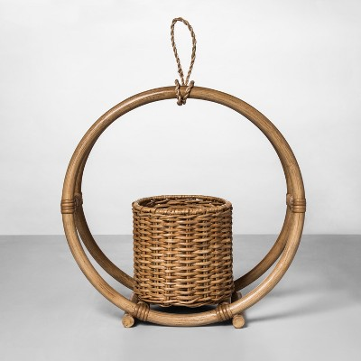 """view 14.7"""" x 14.2"""" Rattan Round Hanging Planter Natural - Opalhouse on target.com. Opens in a new tab."""