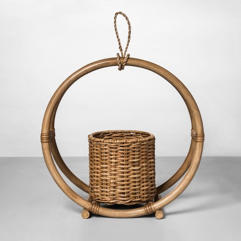 """14.7"""" x 14.2"""" Rattan Round Hanging Planter Natural - Opalhouse™ - image 1 of 4"""