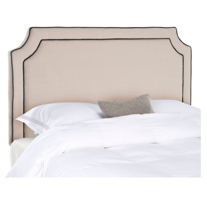 Nadine Piping Headboard - Taupe/Black (King) - Safavieh® - image 1 of 3