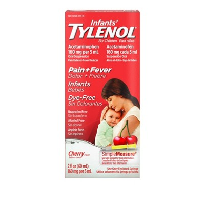 Infants' Tylenol Pain & Fever Reducer Liquid - Acetaminophen - Dye-Free Cherry - 2 fl oz