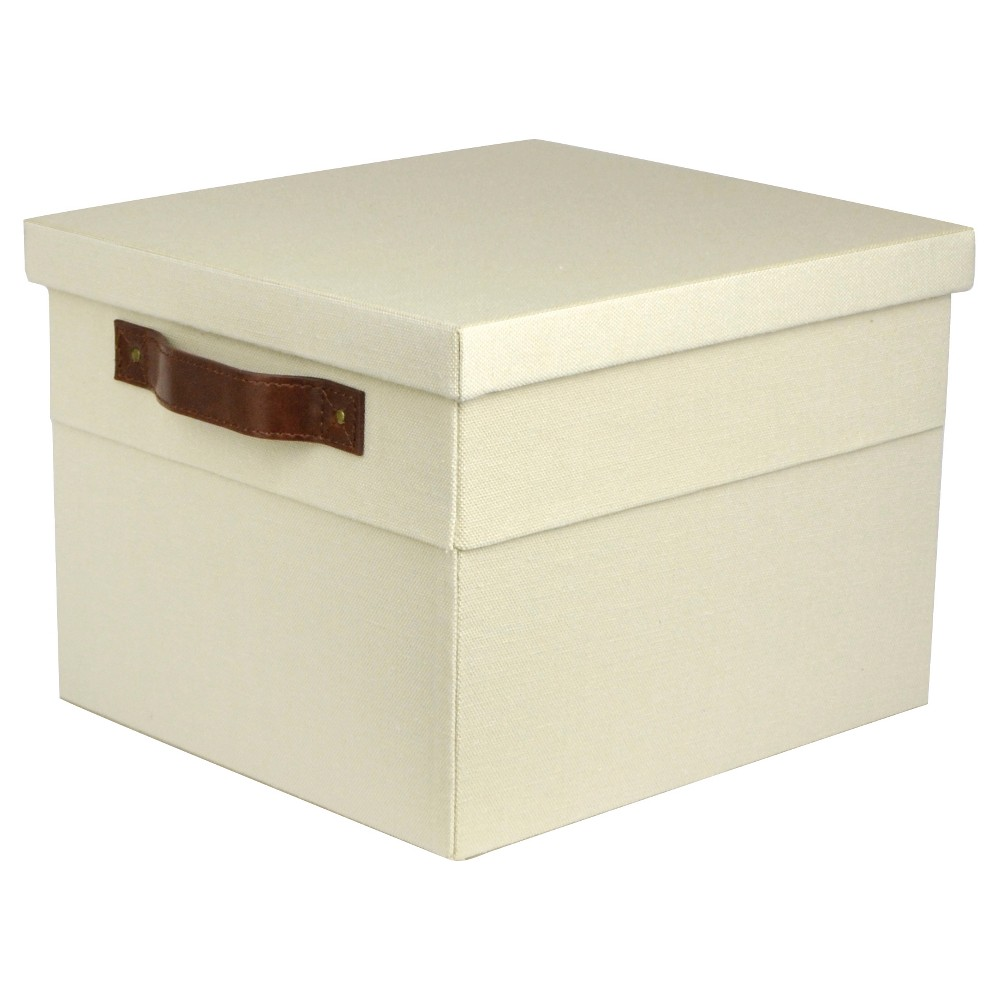 Small Lidded Milk Crate with Vintage Handles - Threshold, Beige