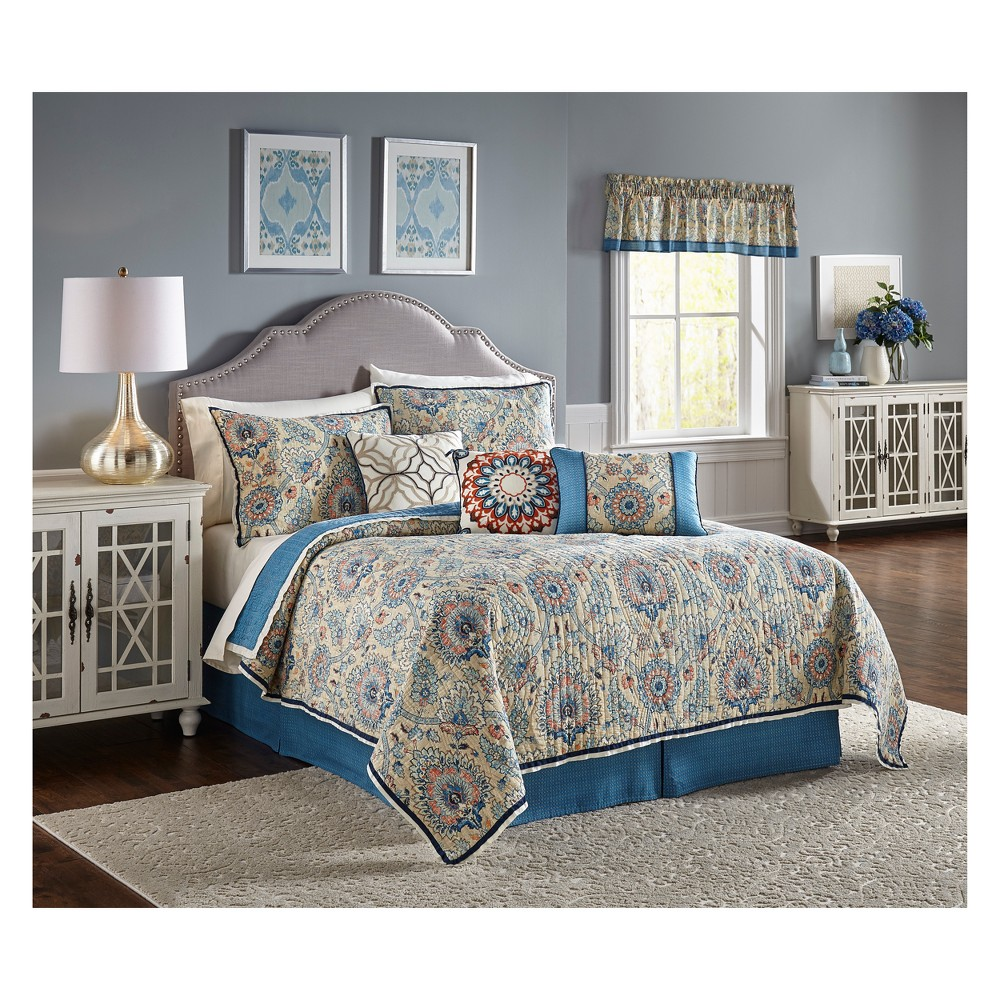 Medallion Castleford Reversible Quilt Set (Queen) 4pc - Waverly, Multicolored
