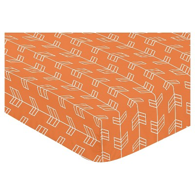 Sweet Jojo Designs Orange & Navy Fitted Crib Sheet - Arrow Print