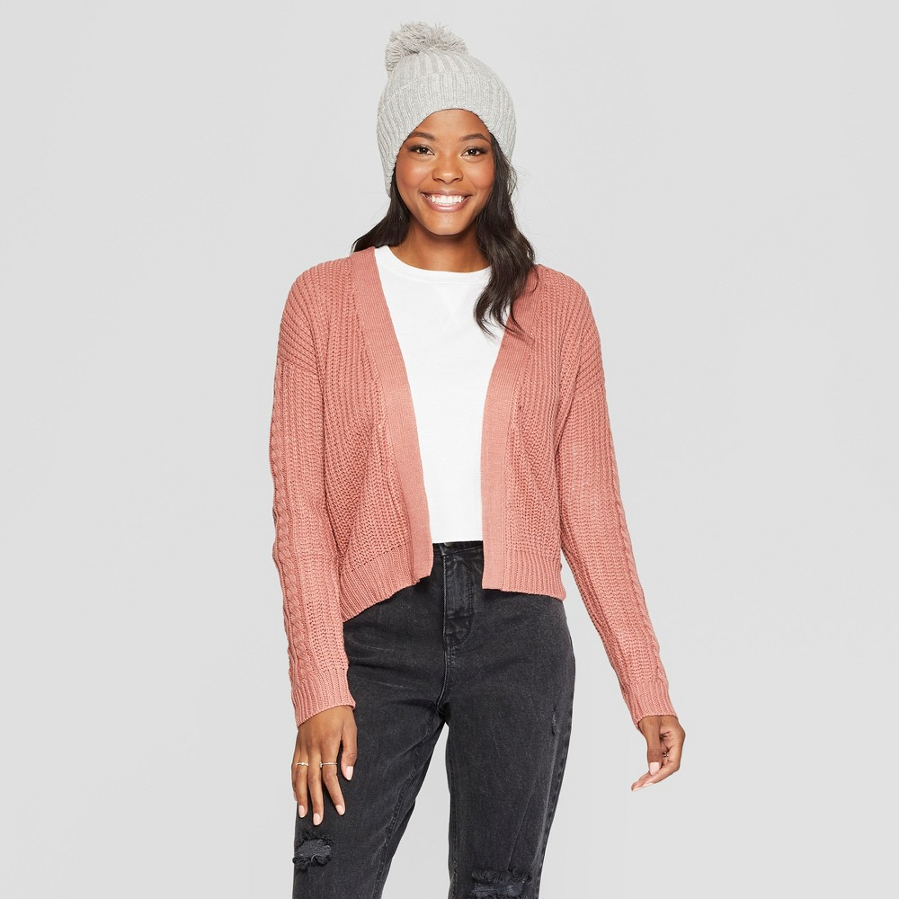 Women's Long Sleeve Side Lace-Up Open Cardigan - Almost Famous (Juniors') Mauve XL, Pink
