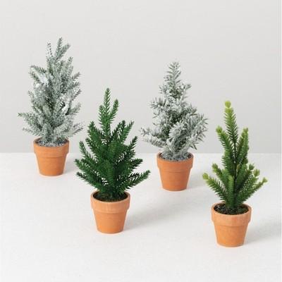 "Sullivans Set of 4 Artificial Mini Potted Tree Set 9""H Green"