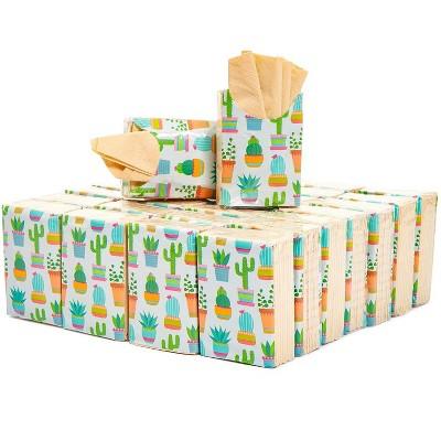 Sparkle and Bash 60 Pack Succulent Cactus Design Facial Pocket Tissue Packs, Mexican Theme Fiesta Cinco de Mayo Party