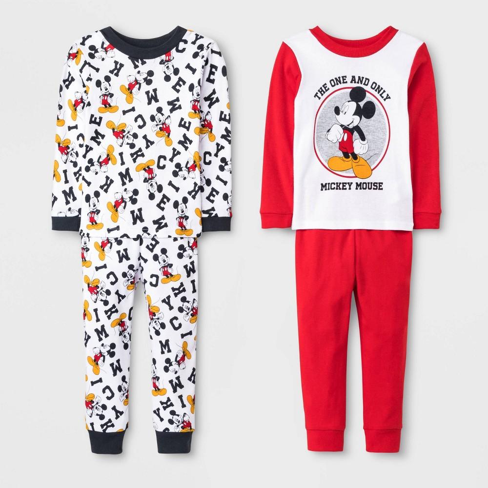 Image of Baby Boys' 4pc Mickey Mouse Pajama Set - White/Red/Black 18M, Boy's, Black/Red/White