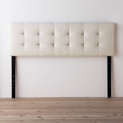Full/Full XL Emmie Adjustable Upholstered Headboard with Square Tufting Cream - Brookside Bed