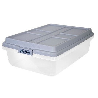 Hefty 40qt Clear Plastic Storage Bin with Gray HI-RISE Stackable Lid