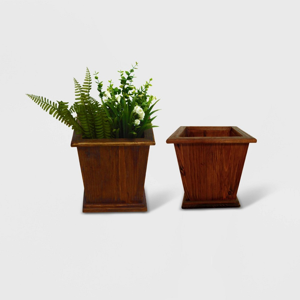 Image of 2pc Sheffield Square Tapered Wooden Planters Brown - Leisure Season