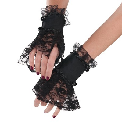 Adult Goth Lace Cuffs Accessory Halloween Costume