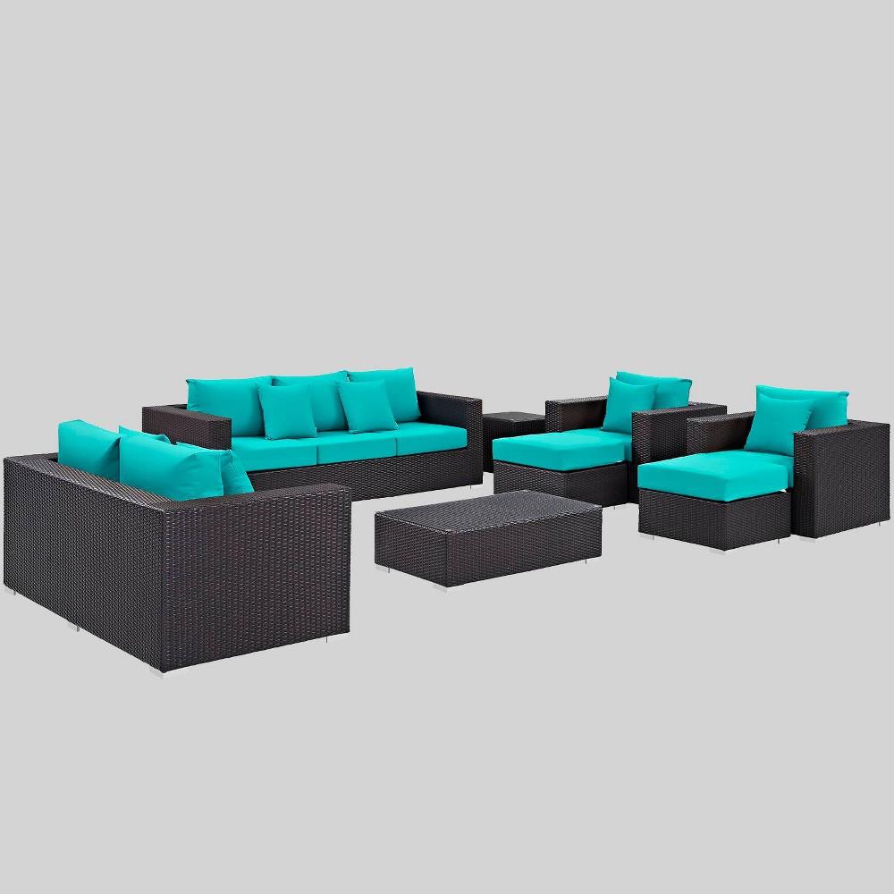 Convene 9pc Outdoor Patio Sofa Set - Turquoise - Modway