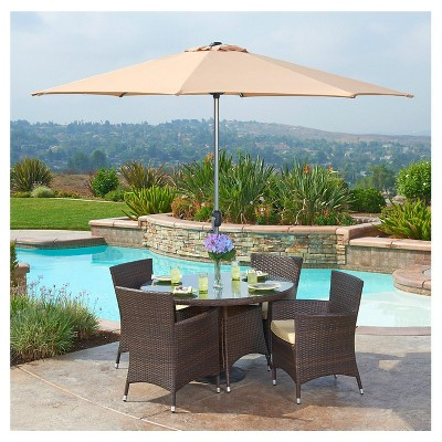 The-HOM Gita 6-Piece All-Weather Wicker Dining Set Espresso Brown with Beige Cushion