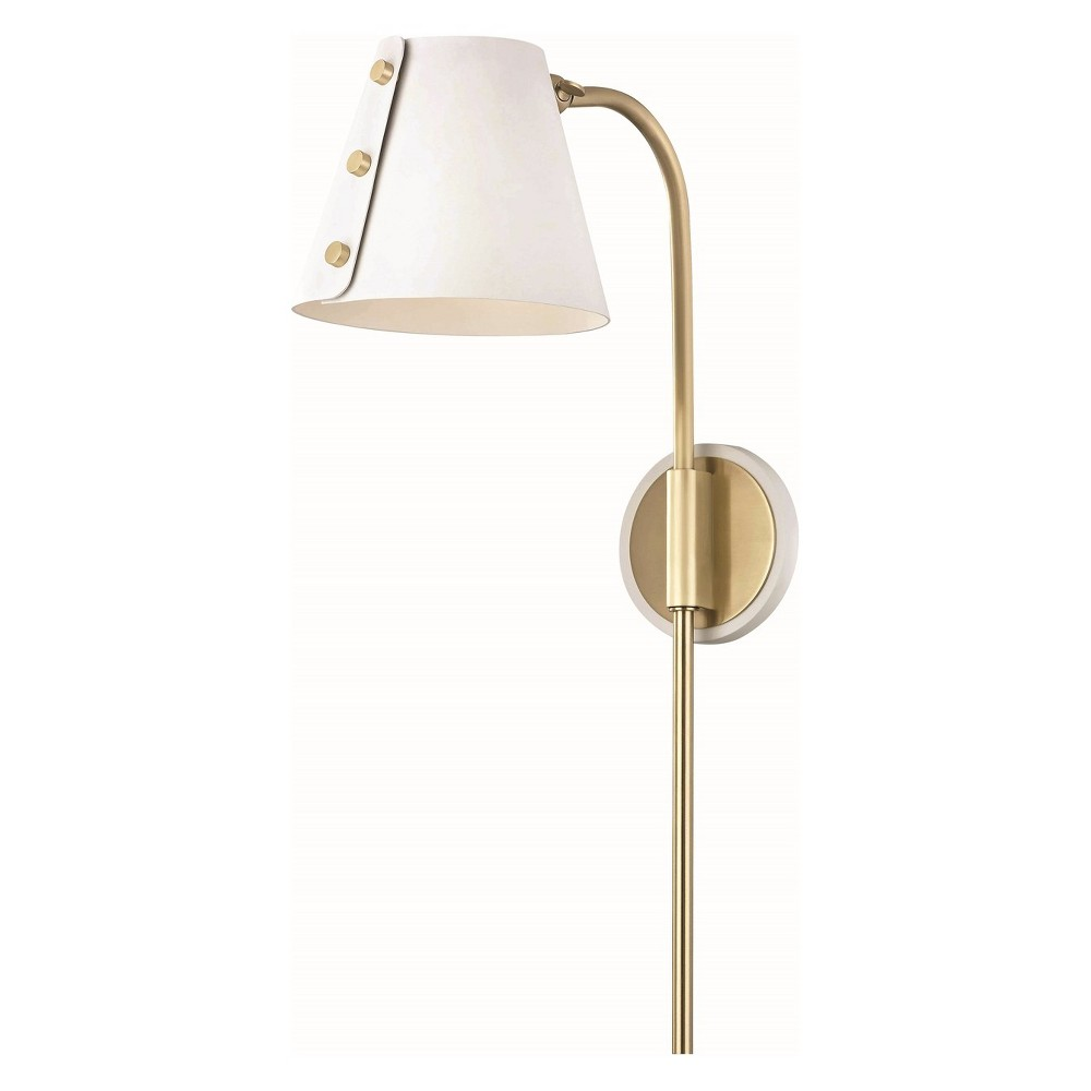 Image of Meta LED Wall Sconce with Plug Aged Brass/White - Mitzi by Hudson Valley