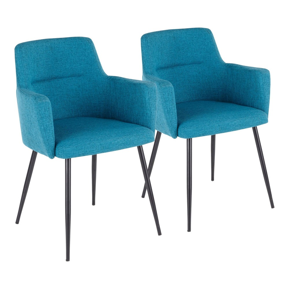 Set Of 2 Andrew Contemporary Dining Accent Chair Teal Lumisource