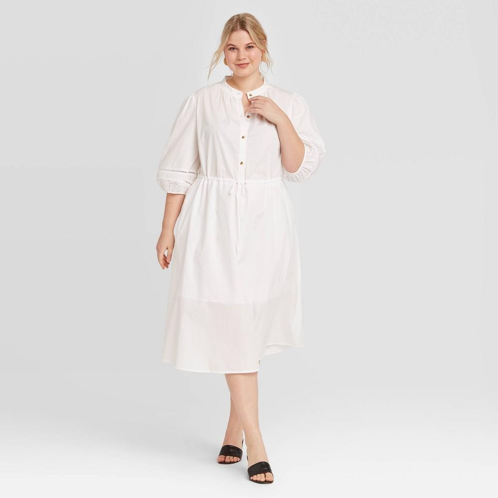 Women's Plus Size Elbow Sleeve Midi Dress - Who What Wear White 3X was $36.99 now $25.89 (30.0% off)