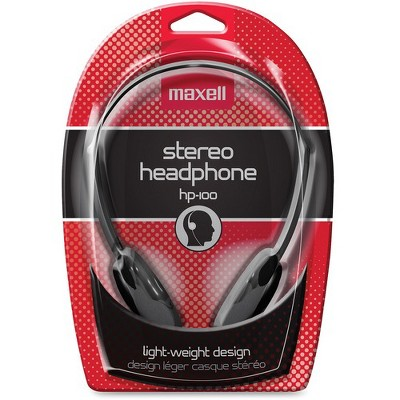 Maxell HP-100 Lightweight Stereo Headphone - Stereo - Black - Mini-phone - Wired - 20 Hz 20 kHz - Nickel Plated Connector - Over-the-head - Binaural