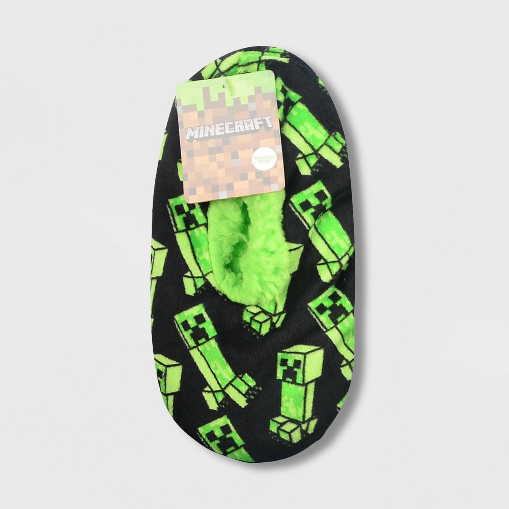 Image of Boys' Minecraft Creeper Slipper Socks - Green S/M, Boy's, Size: Small/Medium