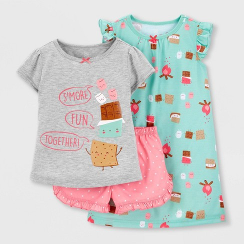 Toddler Girls' 3pc Smores Pajama Set - Just One You® made by carter's Gray/Pink/Green - image 1 of 3