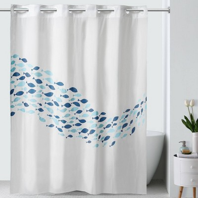 School of Fish PEVA Shower Curtain White/Blue - Hookless