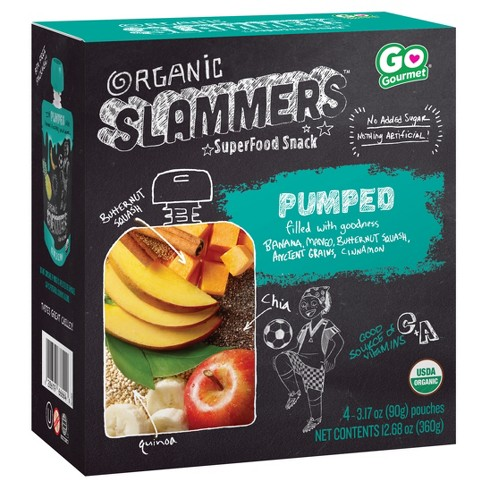 Organic Slammers Superfood Snack Pumped Fruit & Veggie Pouches - 3.17oz 4pk - image 1 of 3
