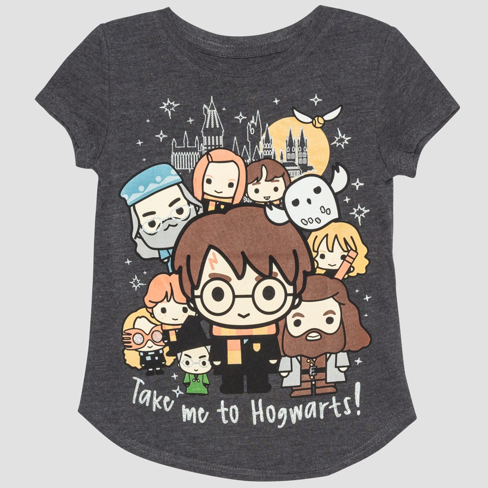 Toddler Girls' Harry Potter Short Sleeve T-Shirt - Gray 18M