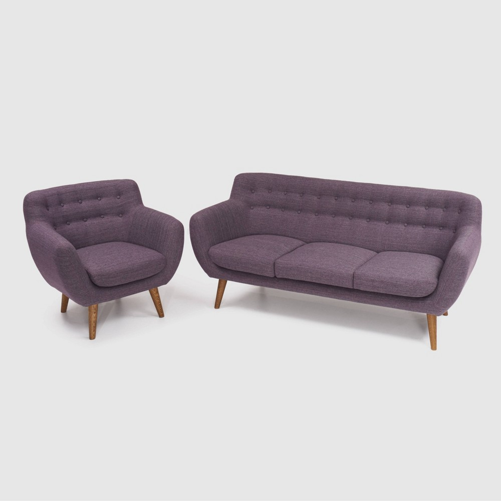 Image of 2Pc Rhodes Mid - Century Modern Living Set Purple - RST Brands