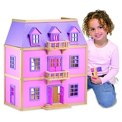Melissa & Doug Multi-Level Wooden Dollhouse With 19pc Furniture