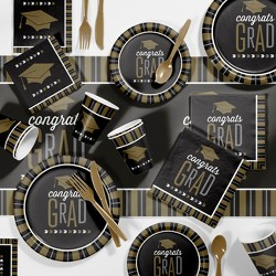 Silver And Gold Glitz Graduation Party Supplies Kit