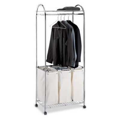 Neu Home Laundry Sorter With Canvas Bag Shiney Silver