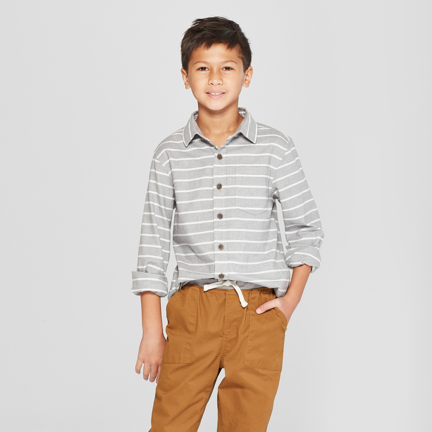 Boys' Flannel Long Sleeve Button-Down Shirt - Cat & Jack™ Gray - image 1 of 3