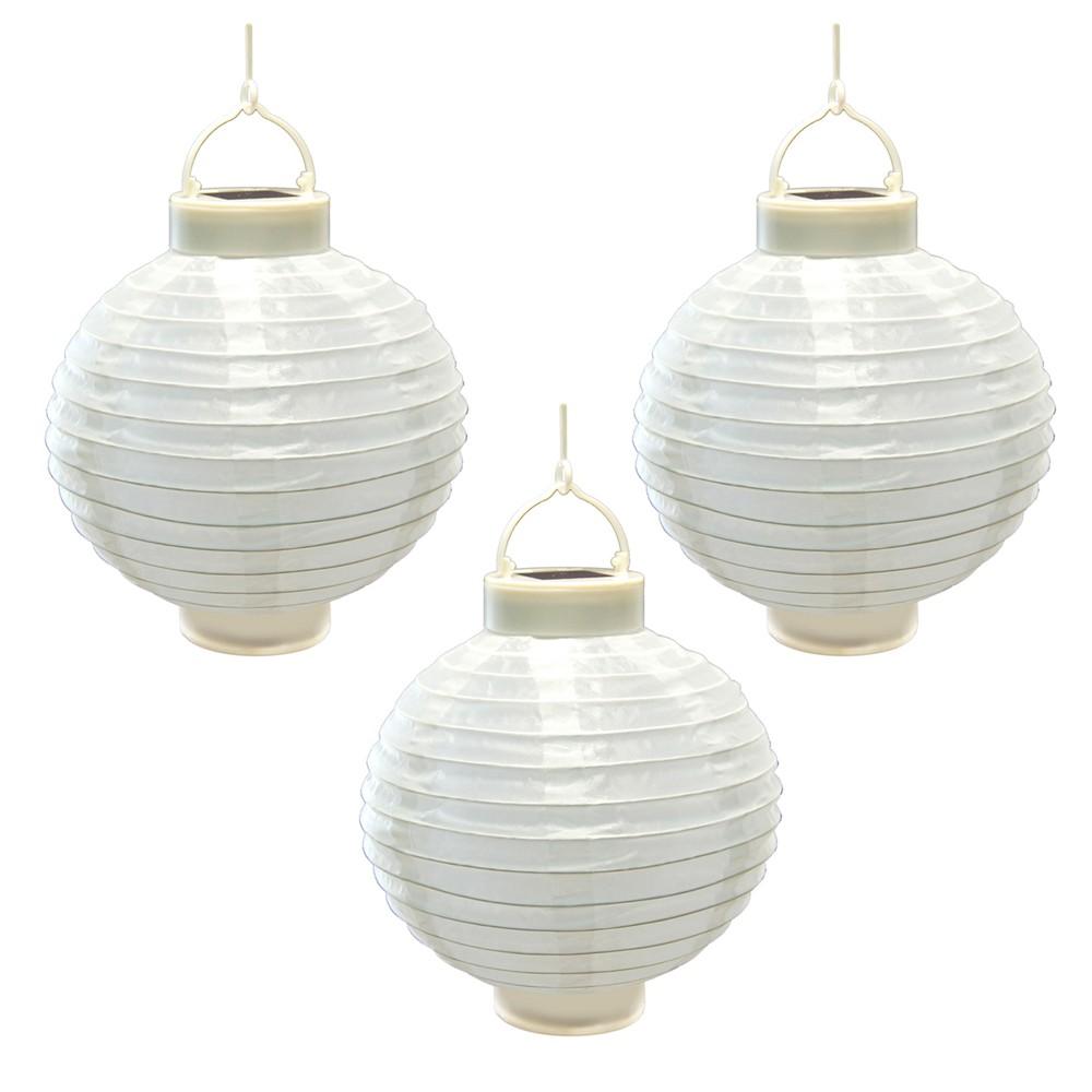3ct Lumabase White Solar Led Powered 8 x 8' Nylon Lanterns