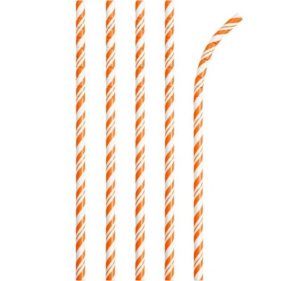 24ct Sunkissed Orange and White Striped Paper Straws