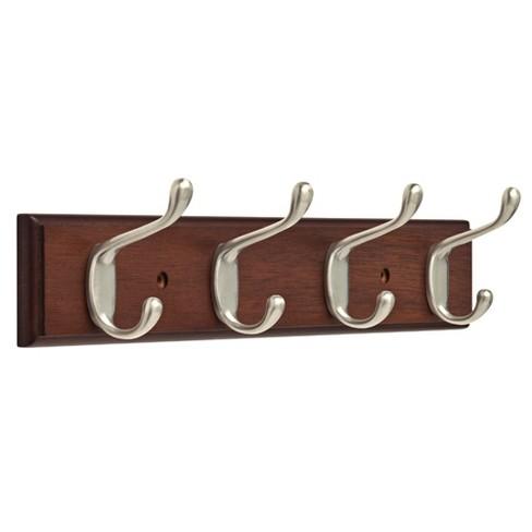 "15.85"" Rail with 4 Heavy Duty Coat & Hat Hooks Bark Satin Nickel - Franklin Brass - image 1 of 3"
