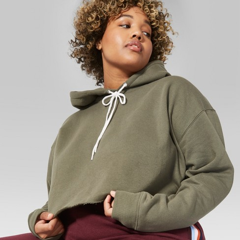 384f7e51fdb6a Women s Plus Size Long Sleeve Cropped Hoodie - Wild Fable™ Olive ...