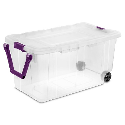 40gal Wheeled Latch Box with Wheels And Handle Tote - Clear/Purple