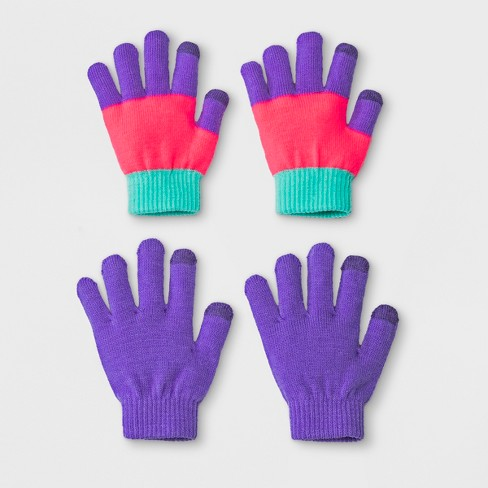 Girls' 2pk Solid Magic Gloves - Cat & Jack™ Purple One Size - image 1 of 1