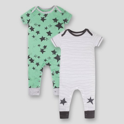 Lamaze Baby 2pk Star Printed Organic Cotton Romper - Green/White