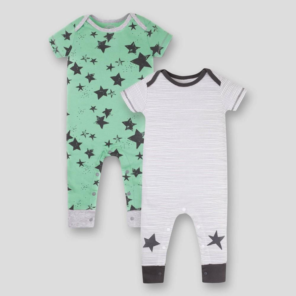 Image of Lamaze Baby 2pk Star Printed Organic Cotton Romper - Green 12M, Kids Unisex